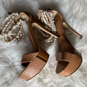 BEBE Resort Style Tan Heel With Shell Ankle